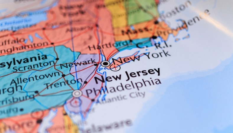 New Jersey on a map