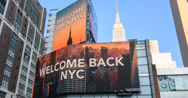 """""""Welcome Back NYC"""" sign"""
