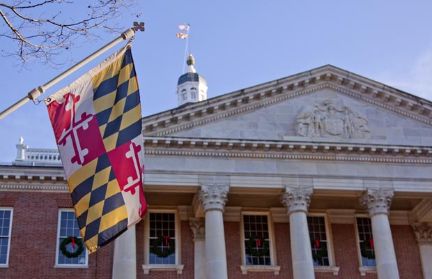 Maryland state flag outside the capitol