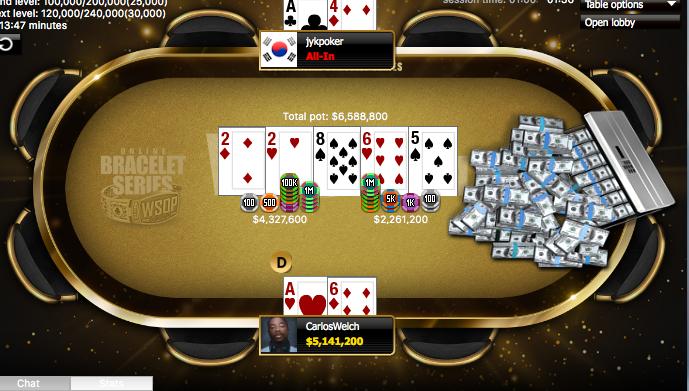 Carlos Welch WSOP Online Event winning hand